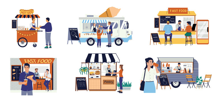 Street food cart. Small family business. Hot Dog kiosk and pastry shop. Customers buy ice cream or coffee in automobile vans. Entrepreneurs sell drinks and snacks. Vector takeaway meal