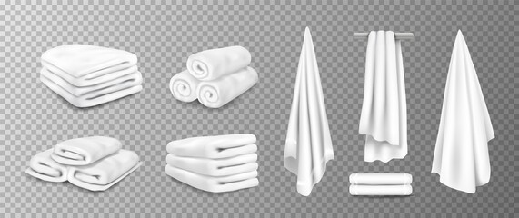 Realistic towels. 3D bathroom terry cloth. Rolled or stacked soft fabric on transparent background. Textile toiletries hanging on hangers. Vector cotton material for wiping after shower