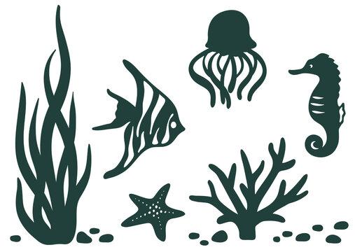 Laser cut template. Marine animals black silhouettes set: starfish, seaweed, jellyfish, sea horse, tropical reef fish closeup isolated on white. Wildlife sea coral reef, iron on, vector, vinyl design.