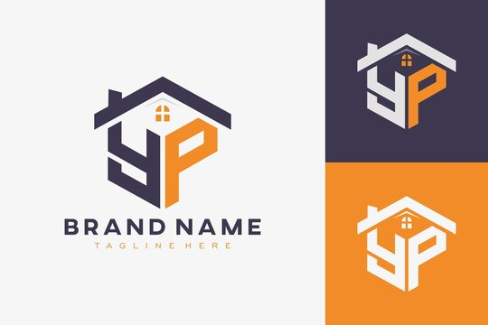 hexagon YP house monogram logo for real estate, property, construction business identity. box shaped home initiral with fav icons vector graphic template
