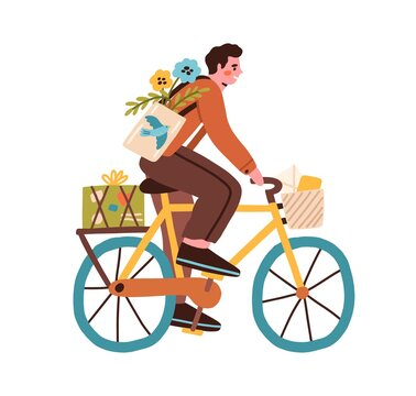 Young man riding bicycle with post boxes, parcels, flowers and envelopes in basket. Happy postman cyclist driving bike. Colored flat vector illustration of mailman isolated on white background