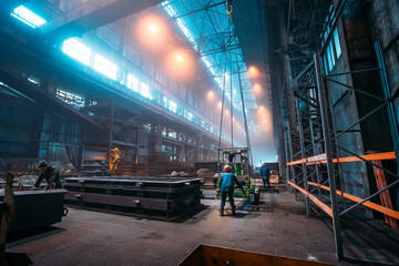 Metallurgical plant or Steel Factory, Large Workshop Interior with industrial cranes and workers,...