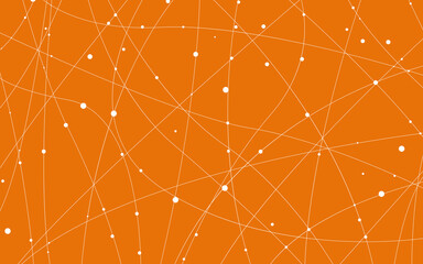 Artistic abstract grey dots with curved lines. Orange background with white dots. Vector illustration