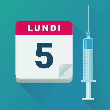 Date de vaccination (flat design)