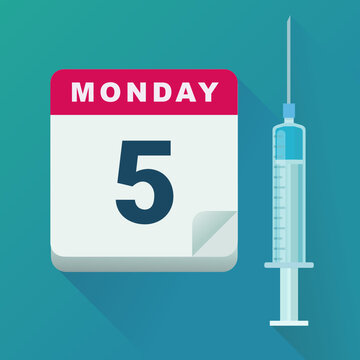 Date of vaccination (flat design)