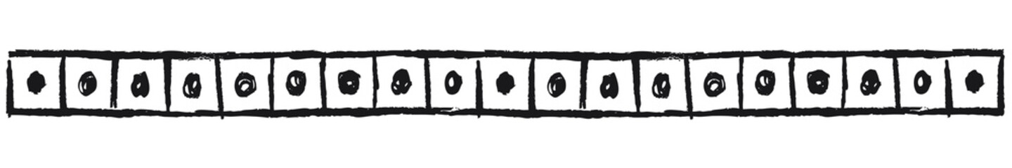 Fototapeta Ethnic border with dots in squares, black. Linear border made in tribal style, made from hand-drawn drawings.