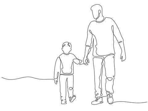 One line father. Dad walking with son. Fatherhood poster with man and child holding hands. Continuous lines happy fathers day vector concept