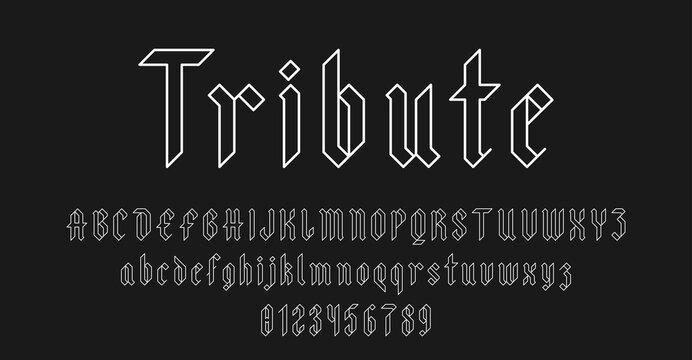 Set of alphabets font letters and numbers elegant antique vintage blackletter concept outline style vector illustration