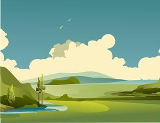 Nature rural landscape summer day