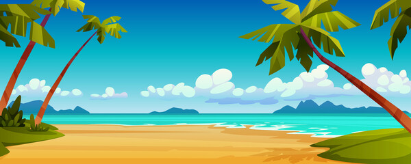Cartoon summer beach, ocean or sea shore, paradise with yellow sand, palm and blue tranquil water. Vector landscape scenery, tourist holiday vacation place for rest. Seaside seashore, tropical trees Wall mural