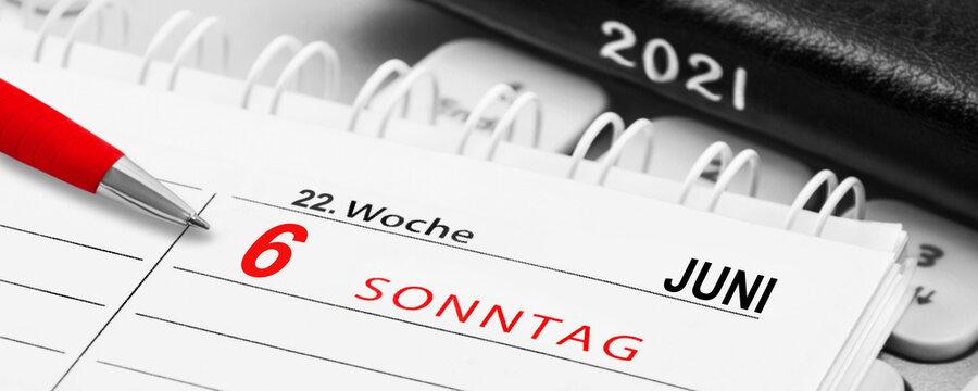 German Calendar 2021  June 6  Sunday Week 22