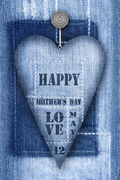 Happy Mother's Day and jeans decoration heart