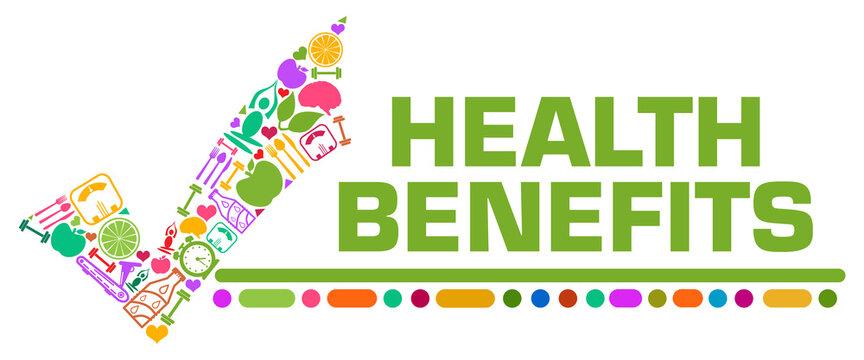 Health Benefits Colorful Symbols Tick Mark Left Text
