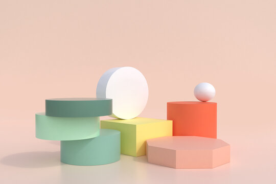 Abstract minimal scene,pastel color design for cosmetic or product display podium 3d render.