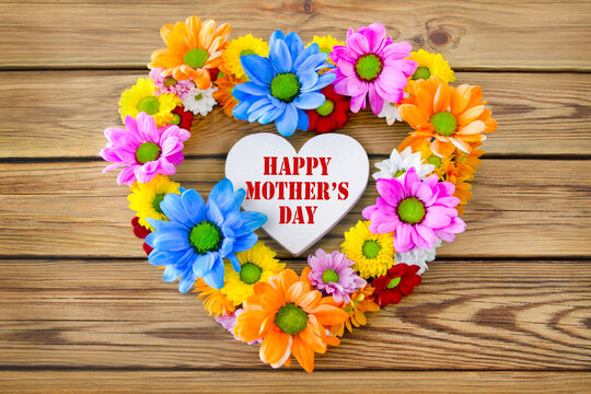 Happy Mother's Day and flowers with heart