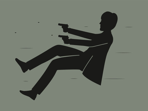 A man shoots with pistols. Vector illustration of a spy shooting a firearm.
