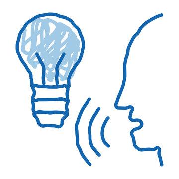 Lightbulb Voice Control doodle icon hand drawn illustration