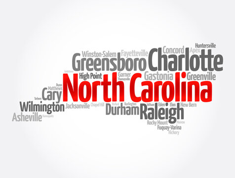 List of cities in North Carolina USA state, map silhouette word cloud map concept background