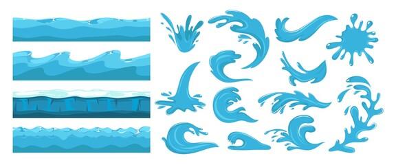 Fototapeta Blue ocean waves. Sea wave, water surface seamless pattern. Cartoon splash, power of waters. Nature, travel or beach journey vector set design elements obraz