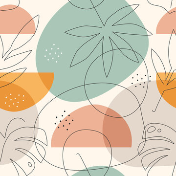 Seamless pattern with line art drawing tropical leaves and abstract shapes. Collage style.