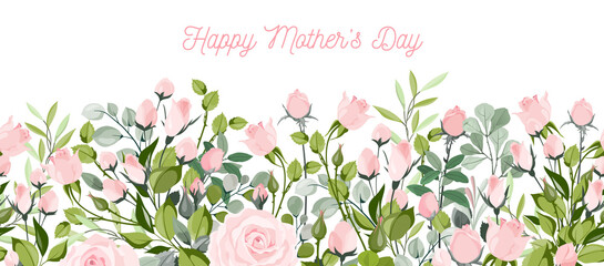 Fototapeta happy mother day, holiday pink flower on blue background. can be use for sale advertisement, backdrop. vector
