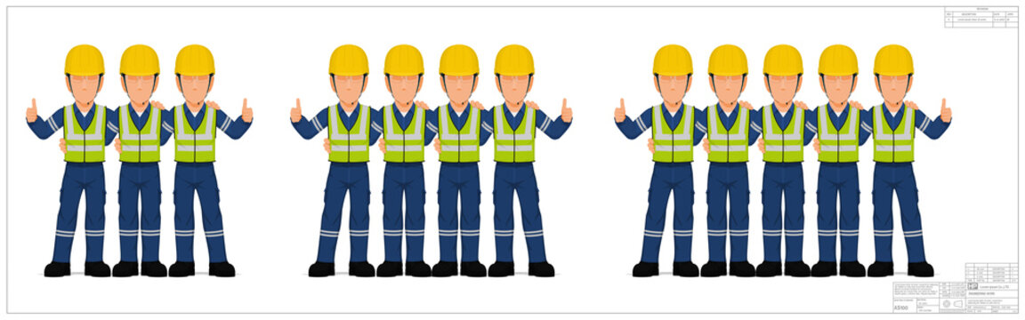 Group of industrial worker on white background