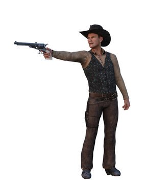 3D illustration of a wild west cowboy man shooting a hand gun isolated on white.
