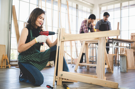 professional carpenters woodworking teamwork together creatively, creative carpenter working workshop for wooden craftman with wood, carpentry industry worker team partner joiner with wood job