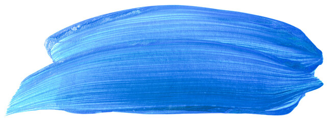 Blue watercolor brush stroke on white background isolated