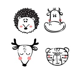 Collection of hipster cartoon character animals cow, deer, hedgehog, tiger