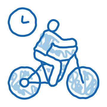 limited cycling time doodle icon hand drawn illustration