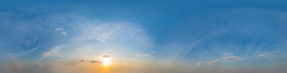 Fototapeta Panorama of beautiful blue sky with clouds at sunset. 180 degree panoramic image.