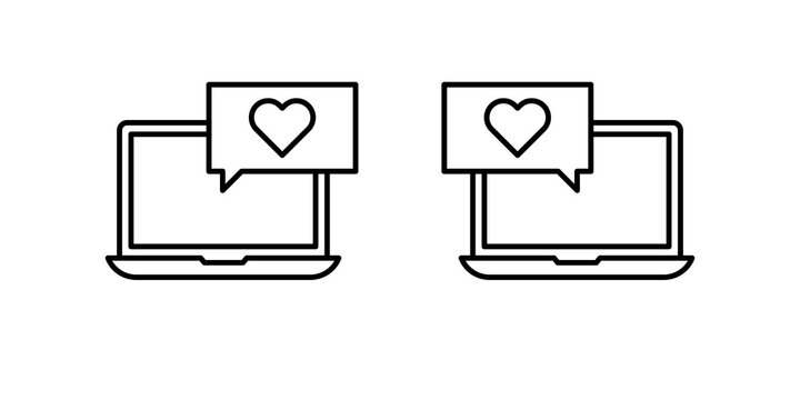 Editable black stroke weight line icon of a laptop or notebook dating app or application to find a love match online as a eps vector.