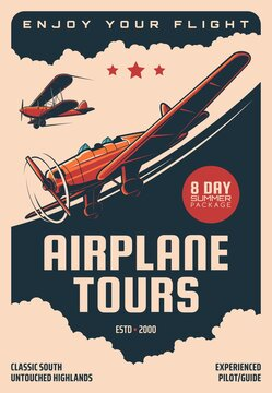 Airplane tours, air plane pilots guide flights vector retro poster. Vintage airplane and propeller planes tourism and aviation travel adventure service, aviator experience training