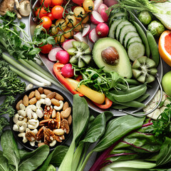 Vegetables and nuts flat lay healthy diet food photography