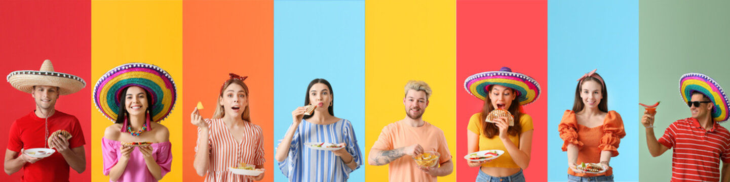 Set of people with tasty Mexican food on color background