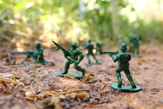 group of toy soldiers outdoors