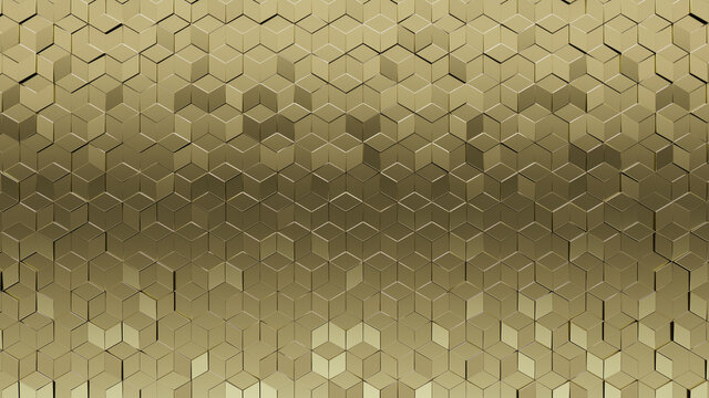 Gold, Glossy Mosaic Tiles arranged in the shape of a wall. Diamond shaped, Polished, Bullion stacked to create a 3D block background. 3D Render