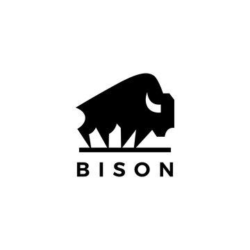 bison american buffalo logo vector icon illustration