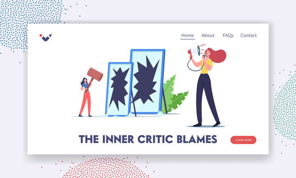 The Inner Critic Blames, Self Anger, Low Self-Esteem Landing Page Template. Unhappy Angry Female Character Yelling