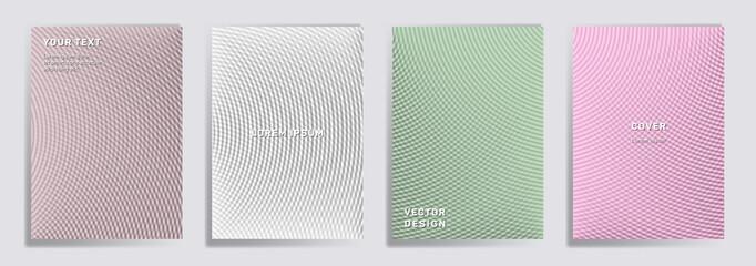 Fototapeta Semicircle lines halftone grid covers vector set. obraz
