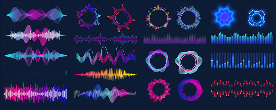 Colorful sound waves. Audio signal wave, color gradient music waveforms and digital studio equalizer vector set. Analog and digital audio signal.  High frequency radio wave. Vector illustration