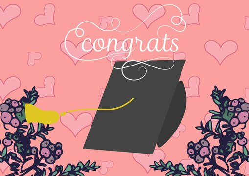 Composition of congrats in curly script and mortarboard with hearts and plants on pink background