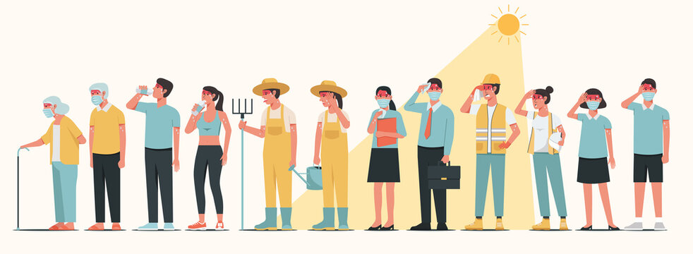 Group of occupation people characters wearing mask standing together in sunny weather in summer and having heatstroke symptoms, vector flat illustration