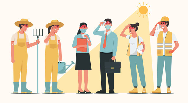 Group of working people characters standing together in sunny weather in summer and having heatstroke symptoms, vector flat illustration