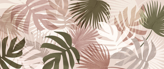Abstract art tropical leaves background vector. Wallpaper design with watercolor art texture from palm leaves, Jungle leaves, monstera leaf, exotic botanical floral pattern. Design for banner, cover,  - fototapety na wymiar