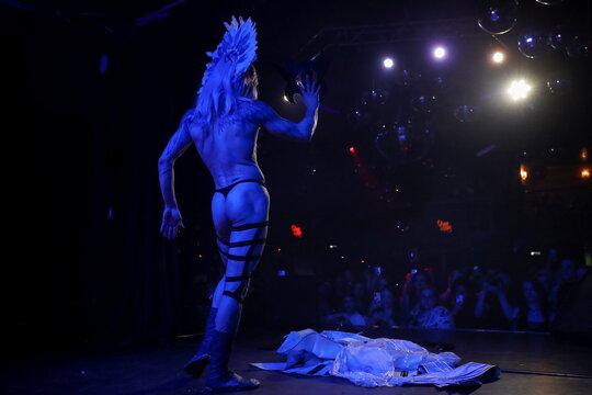 Boylesque dancer Ellisha Fox performs during DragLesque Show in Moscow