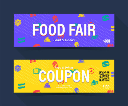 Food fair coupon ticket card. Food element template for graphics design. Vector illustration
