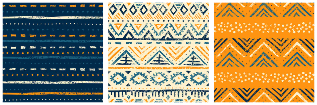 Set of seamless geometric patterns. Ethnic and tribal motives. Bohemian print for textiles, packaging, home decor. Grunge vintage texture. Vector illustration.