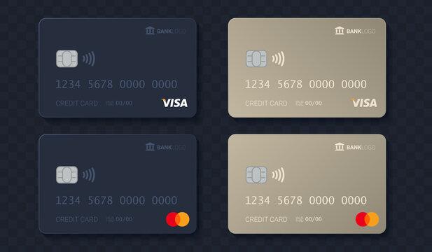 Credit card mockup set. Gold and grey visa and mastercard vector template.